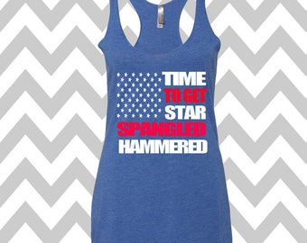 Star Spangled Hammered Tank Top 4th of July Tank Top USA Tank Top Patriotic Tank Top Memorial Day Tank Drinking Tank Country Concert Tank