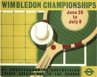 Vintage 1939 Wimbledon Tennis Championships Poster A3 Print