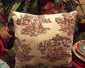 Toile Print Pillow