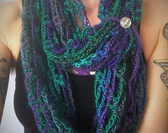 Artfully Simple Infinity scarf / cowl - Dragonfly Colorway