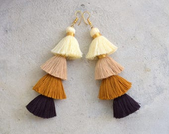 Four Layered Ombre Brown Tassel Earrings