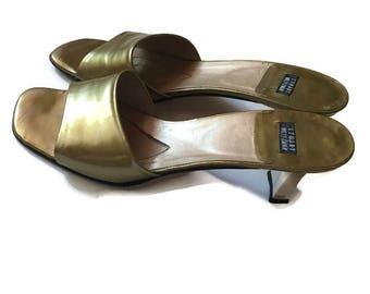 90's gold minimalist Stuart Weitzman slides /minimalist heels / like maryam nassir zadeh