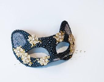 "Cat Mask With Whiskers!  Women's Masquerade Mask, Kitty Cat Mascarade Mask,  MEOW!  Mask on a Stick, Mascarade Mask!  The ""Jasmine"""