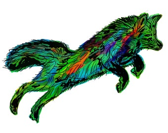 "Fox(3OG) Giclée Print - Cavanata - 8"" X 10"" Fox Graphic Fine Art Print, Original Illustration, Animal Art"