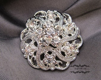 1-50 Wholesale Brooch Rhinestone Brooch Bouquet Wedding Pin Invitation Cake Shoe Hair Comb DIY Button Embellishment Silver Brooches BR213