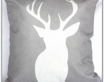 Gray/ White Deer Pillow Cover