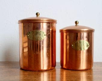 Vintage Nesting Copper Canisters Coffee and Tea, Kitchen Canisters, Copper, Rustic, Farm Kitchen French Provincial Farm Table
