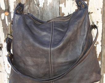 Soft Vintage Black Distressed Hobo Bag