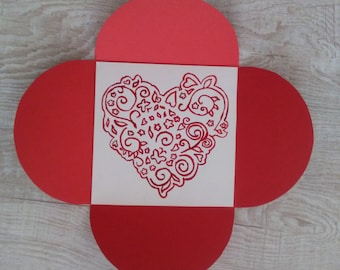 Origami love card, Handmade love card with handmade envelope, love card with envelope, 3D love cards, I love you card, 3D Card, folded card