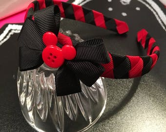 Black and Red Mickey Mouse Woven Headband