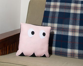 Decorative Felt & Fleece Pink Ghost from Pac Man Pillow