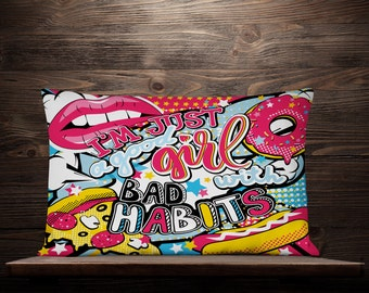 Good Girl Bad Habits Graffiti Lumbar Pillow | Graffiti Pillow | Graffiti Pillow Cover | Graffiti Gift | Graffiti Decor | Graffiti Cushion
