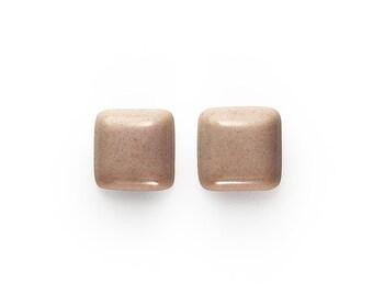 Ceramic Pink Squares Cabochon 1 pair