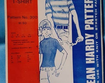1972 Jean Hardy Patterns 300 Kids and Teens Tee Shirt Sizes S-XL 6-20 Uncut Sewing Pattern Retro Style