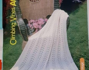 2001 House of White Birches Climbing Vines Afghan Original Knitting Pattern Leaflet NOT a PDF