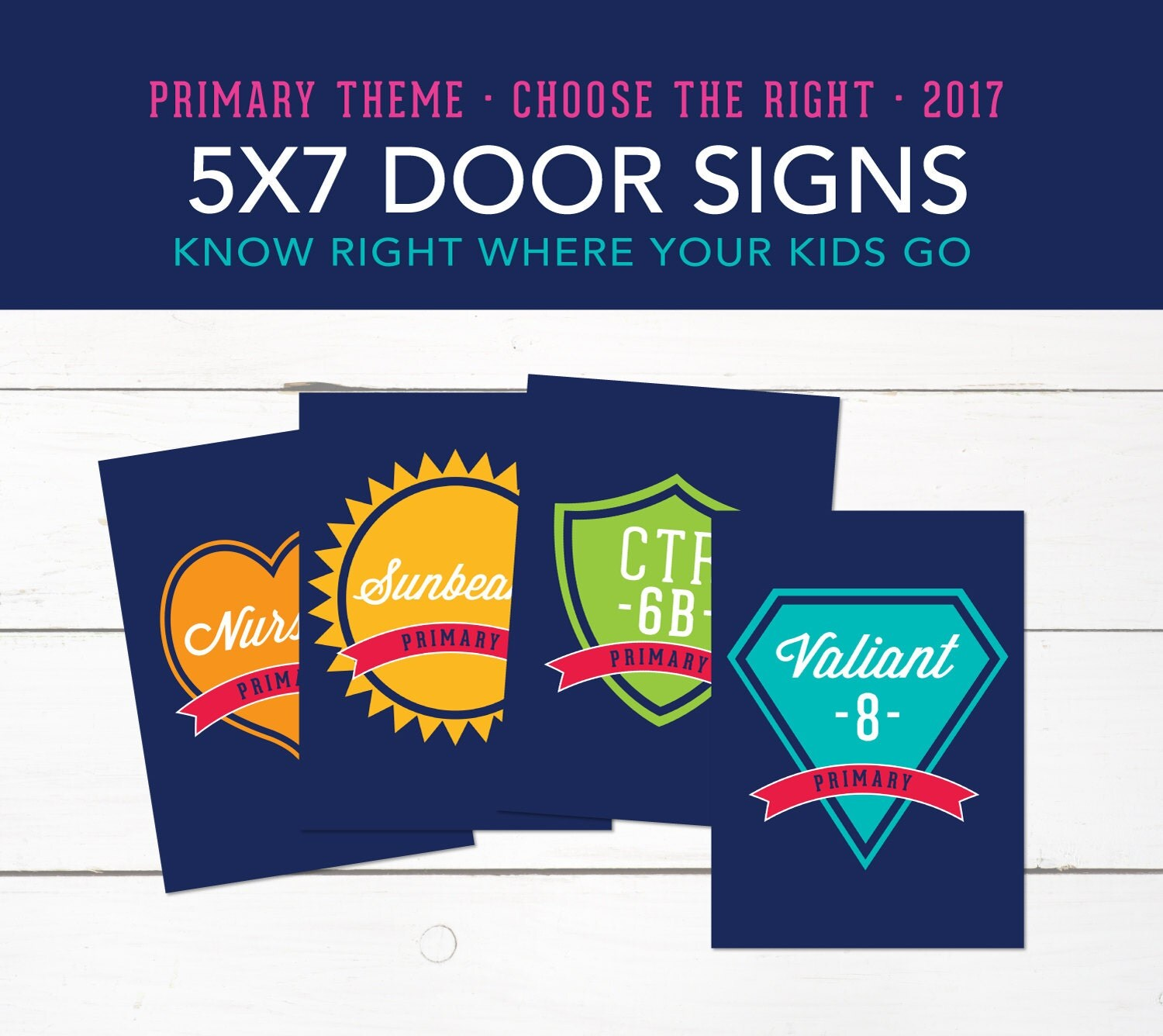 5x7 class room door signs small lds 2017 primary theme for Idea door primary sharing time