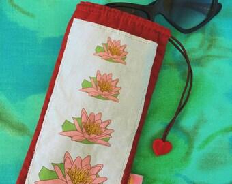 Lotus flower sun glasses pouch