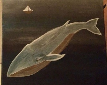 Big Whale, Little Boat - Acrylic Painting