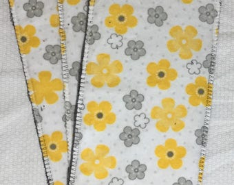 """Reusable floor duster/cleaning pad, 5x11"""", set of 3, yellow and gray floral"""