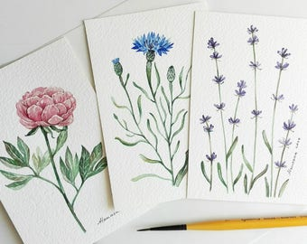 Flowers watercolor  Watercolor cards  Floral cards set of 3  Small watercolor  Botanical cards  Original watercolor  Flower cards