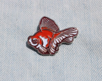 Red and White Butterfly Telescope Goldfish Enamel Pin