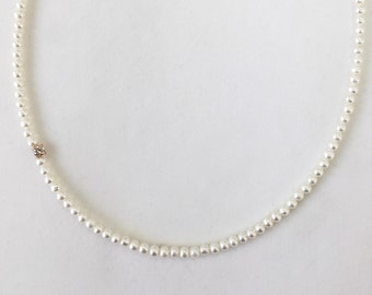 Excellent White Diamond Pearl, White Diamond and Pearl Necklace