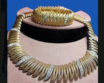Vintage Ciner necklace bracelet. Signed CINER