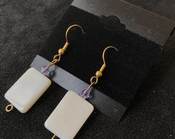 White Rectangle Dangle Earrings