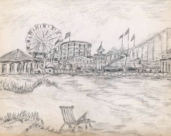 Charcoal Drawing, Carnival by the Sea, Print from Original Charcoal Drawing