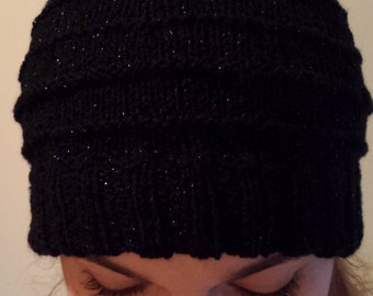 Hat Knit Beanie, Knit Hat, handknitted Hat, handmade Beanie, Knitted Hat, Winter hat, Hat woman, Black hat, Black hat- ready to ship