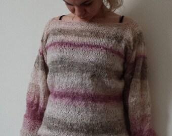 Women mohair sweater, Handknit sweater, Soft sweater, Hand Knit Sweater, Hand Knitted sweater, Long Sleeved, Knitwear, Handmade sweater