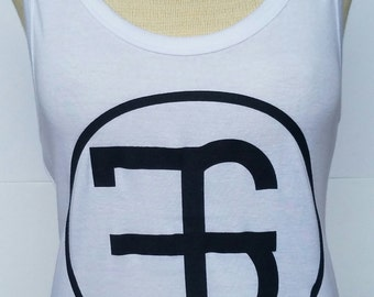 Cotton Sheer White Mini Rib Tank Top// Silk Screen// CustomBlack Logo// Longer Length// Side Seamed// Stretch Fit// Clothing