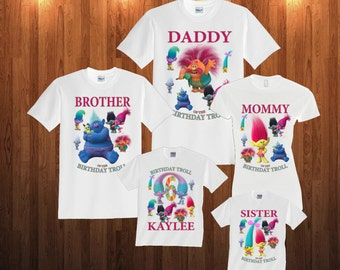 Trolls Birthday Long Sleeve and Short Sleeve Shirt, Custom personalized t-shirts for all family