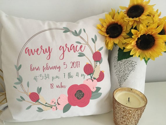 Birth announcement pillow personalized baby pillow baby like this item negle Choice Image