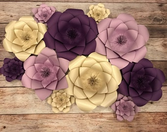 Paper Flowers, purple, backdrop, wedding, decorations, bridal shower, baby shower, birthday party, paper flower wall