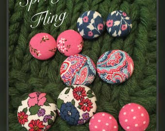 fabric covered button - Spring Fling earring set