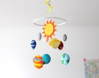 Solar System Felt Mobile, Felt Outer Space Crib Mobile, Planets Mobile, The Sun & 9 Planets, Space baby boy mobile
