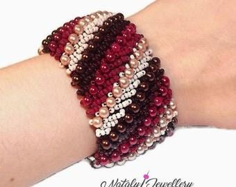 Beige brown red bracelet Wide bracelet Colorful bracelet Gift for her Stylish bracelet Women bracelet Elegant bracelet Evening bracelet