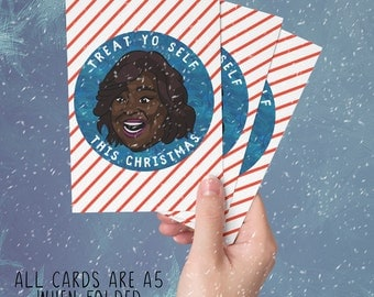 Donna Meagle Christmas Card - Parks and Recreation - TREAT YO SELF