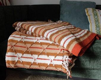 Knitted Tan, White, Burnt Orange Stripped Blanket/ Throw with Diamond Pattern