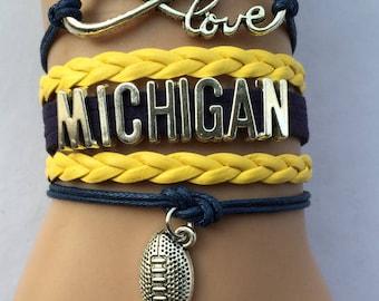 Michigan Wolverines Love Friendship Charm Bracelet