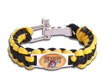 Pittsburgh Pirates Paracord Survival Bracelet with Adjustable Shackle