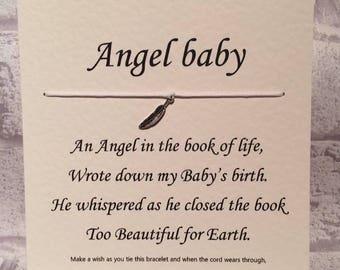 Angel baby   Tibetan Silver Charm Wish Bracelet & Message Card    Handmade By Erin