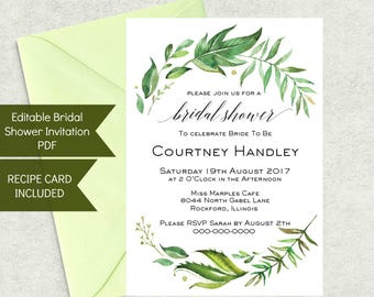 Printable Bridal Shower Invitation Template and Recipe Card Set, Instant Download, Green Wreath Theme, WLP239
