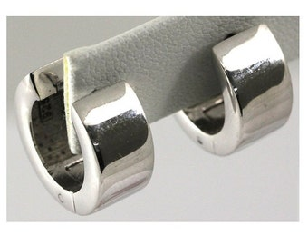 Rhodium Plated Sterling Silver Huggie Earring #OZE-13
