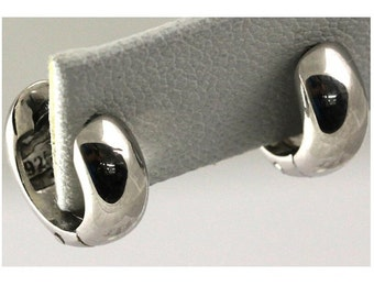 Rhodium Plated Sterling Silver Huggie Earring #OZE-30