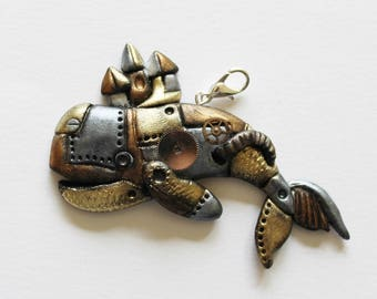 Steampunk whale pendant, handsculpted polymer clay whale pendant, statement necklace, whale necklace, steampunk pendant, steampunk whale