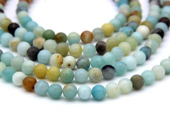 Amazonite Beads 6mm 8mm 10mm Polish Natural Aqua Green Gemstones Mala Beads Mala Necklace Bracelet Supplies Aqua Blue Jewelry Supplies