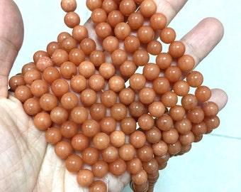 Natrual Peach Aventurine Beads 8mm Orange Aventurine Beads Peach Gemstones Beads Orange Gemstone Bead Peach Mala Beads Supplies Chakra Beads