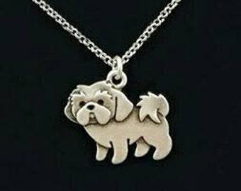Shih Tzu Necklace Charm 18 Inch Chain